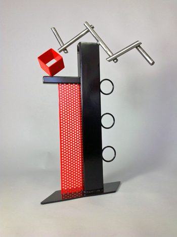 abstract, contemporary, tabletop, sculpture, steel, enamel paints