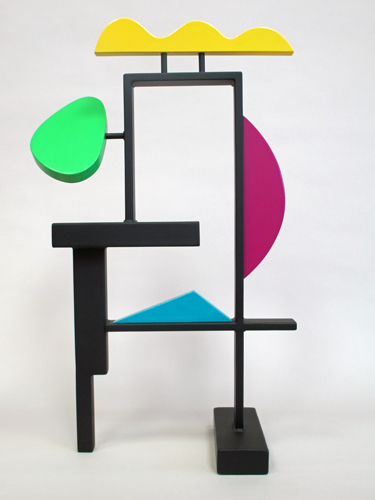 abstract, contemporary,colorful, whimsical, tabletop, sculpture, steel, wood, acrylic paints