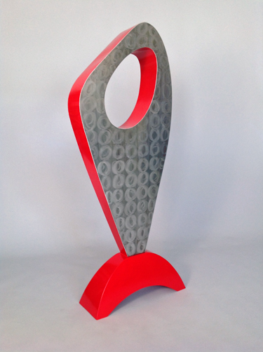 abstract, contemporary, free standing, metal sculpture, stainless steel, enamel paint