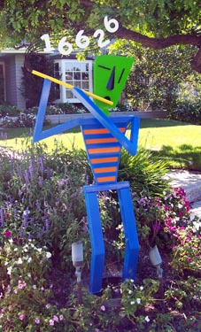 abstract figurative, whimsical, colorful, fluteplayer, outdoor, sculpture, address marker, steel, enamel paints