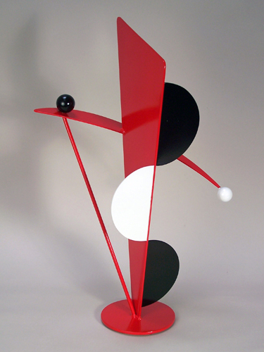 abstract, contemporary, tabletop sculpture, steel, enamel paints