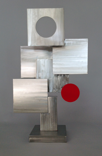 abstract, contemporary, tabletop, stainless steel sculpture