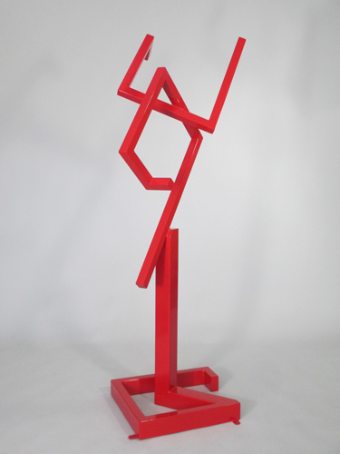 abstract, contemporary, free standing, indoor outdoor, sculpture, red, powder coated steel