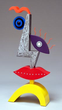 whimiscal, abstract, figurative, colorful, free standing, indoor outdoor, sculpture, steel, enamel paints, mixed media