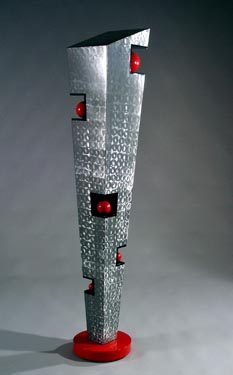 Abstract, contemporary, free standing, metal sculpture made of burnished steel and enamel paints