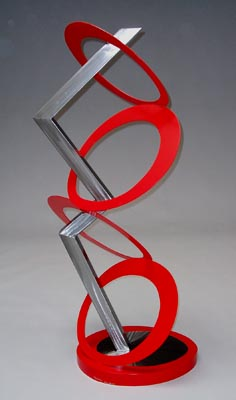 abstract, contemporary, free standing, metal sculpture, burnished steel and enamel paint