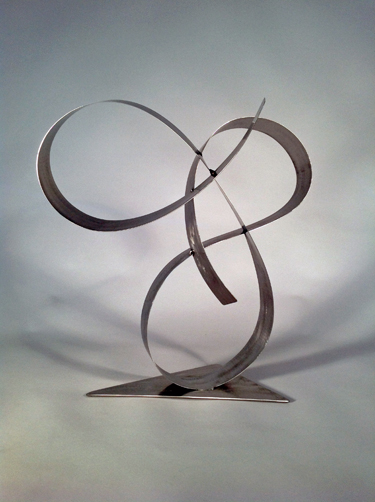 abstract, contemporary, tabletop, stainless steel, sculpture, bent ribbon