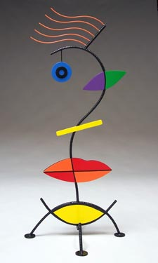 colorful, abstract, figurative, free standing, indoor outdoor, contemporary, face, sculpture, steel, enamel paints
