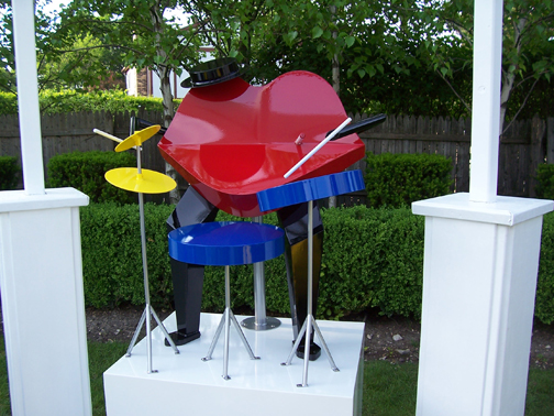 whimiscal, colorful, contemporary, outdoor sculpture, jazz musician, drummer, powder coated steel
