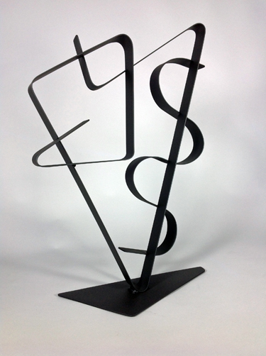 abstract, contemporary, tabletop, sculpture, black, steel