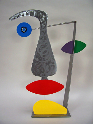 whimsical, abstract, figurative, tabletop, sculpture, steel, enamel paints