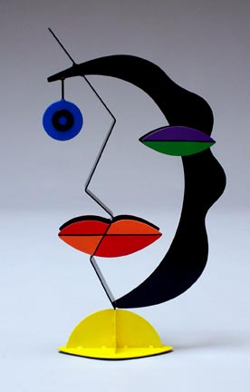 whimsical, abstract, figurative, contemporary, tabletop, sculpture, steel, enamel paints